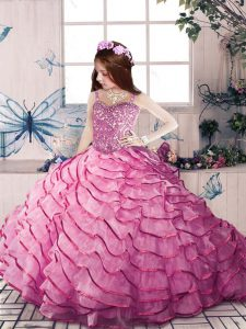 Pink Lace Up Pageant Dress for Teens Beading and Ruffled Layers Sleeveless Court Train