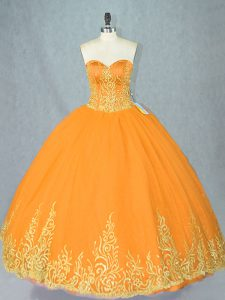 Romantic Gold Sweetheart Lace Up Beading 15 Quinceanera Dress Sleeveless