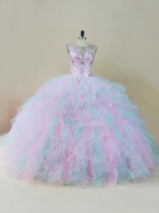 Multi-color Scoop Lace Up Beading and Ruffles Ball Gown Prom Dress Sleeveless