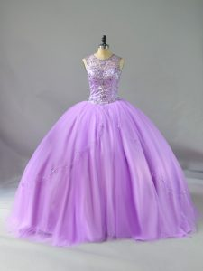 New Style Lavender Sleeveless Tulle Lace Up 15 Quinceanera Dress for Sweet 16 and Quinceanera