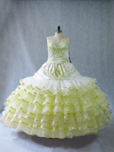 Yellow Green Ball Gowns Organza Sweetheart Sleeveless Embroidery and Ruffled Layers Floor Length 15th Birthday Dress