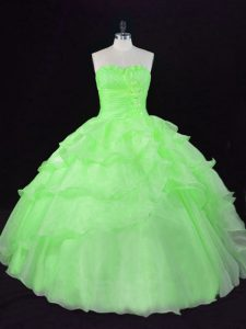 Free and Easy Floor Length Sweet 16 Dresses Organza Sleeveless Beading and Ruffles