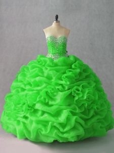 Organza Sweetheart Sleeveless Lace Up Beading and Hand Made Flower Vestidos de Quinceanera in