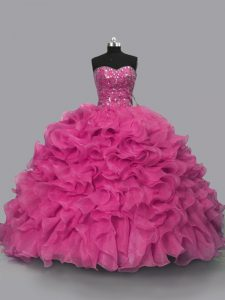 Most Popular Floor Length Lace Up 15th Birthday Dress Hot Pink for Sweet 16 and Quinceanera with Beading