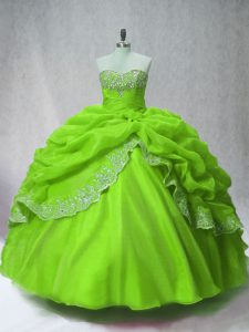 New Style Long Sleeves Organza Floor Length Lace Up Ball Gown Prom Dress in Green with Beading and Appliques and Pick Ups