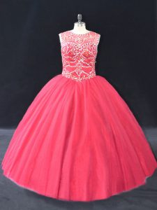 Flare Ball Gowns Vestidos de Quinceanera Coral Red Scoop Tulle Long Sleeves Floor Length Lace Up
