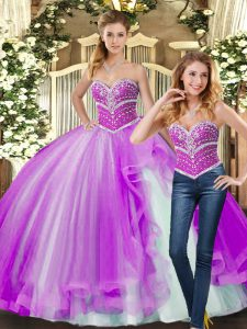 Comfortable Ball Gowns Quinceanera Gown Lilac Sweetheart Tulle Sleeveless Floor Length Lace Up