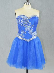 New Arrival Blue Lace Up Sweetheart Beading Prom Gown Tulle Sleeveless