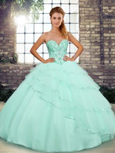 Ball Gowns Sleeveless Apple Green Quince Ball Gowns Brush Train Lace Up