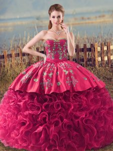 Lace Up Vestidos de Quinceanera Coral Red for Military Ball and Sweet 16 with Embroidery and Ruffles
