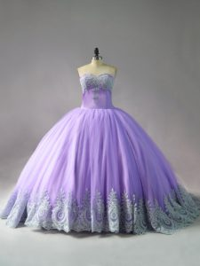 Designer Lace Up Sweet 16 Quinceanera Dress Lavender for Sweet 16 and Quinceanera with Appliques Court Train