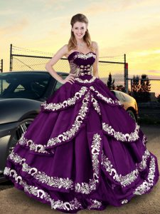 Cheap Purple Sweetheart Neckline Embroidery and Ruffled Layers Quinceanera Dress Sleeveless Lace Up