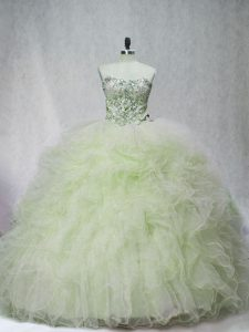 Tulle Sweetheart Sleeveless Brush Train Lace Up Beading 15th Birthday Dress in Yellow Green