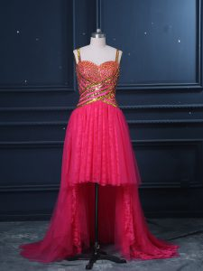 Hot Pink Sleeveless Tulle Zipper Dress for Prom for Prom and Party and Military Ball
