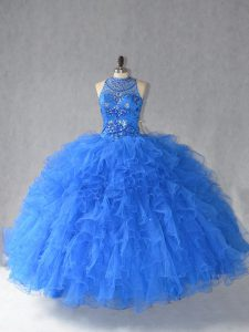 Royal Blue Ball Gowns Halter Top Sleeveless Tulle Floor Length Lace Up Beading and Ruffles Sweet 16 Quinceanera Dress