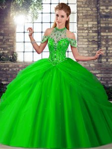 Green Quinceanera Dress Military Ball and Sweet 16 and Quinceanera with Beading and Pick Ups Halter Top Sleeveless Brush Train Lace Up