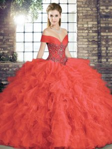 Chic Floor Length Lace Up Sweet 16 Quinceanera Dress Coral Red for Military Ball and Sweet 16 and Quinceanera with Beading and Ruffles