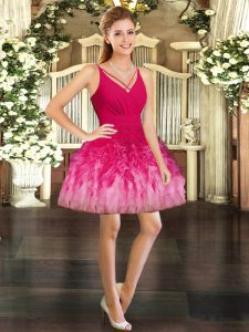 Exquisite Multi-color Homecoming Dress Prom and Party with Ruffles V-neck Sleeveless Backless