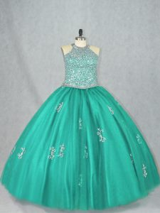 Halter Top Sleeveless Sweet 16 Dress Floor Length Beading and Appliques Turquoise Tulle