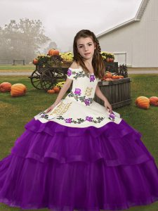 Straps Sleeveless Lace Up High School Pageant Dress Eggplant Purple Tulle