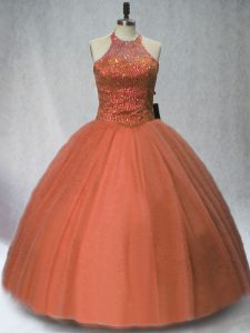 Sleeveless Floor Length Beading Lace Up Sweet 16 Quinceanera Dress with Brown