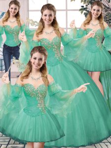 Turquoise Sweet 16 Dress Sweet 16 and Quinceanera with Beading Sweetheart Sleeveless Lace Up