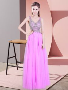 Fantastic Lilac Tulle Zipper Prom Gown Sleeveless Floor Length Beading