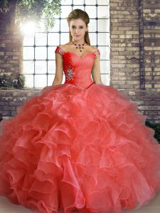 Ball Gowns Quince Ball Gowns Watermelon Red Off The Shoulder Organza Sleeveless Floor Length Lace Up