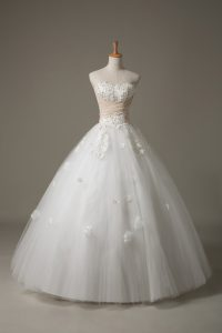 Glorious White Ball Gowns Beading and Appliques Wedding Dress Lace Up Tulle Sleeveless Floor Length