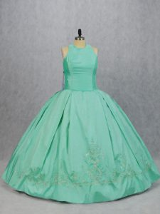 Discount Apple Green Sleeveless Floor Length Embroidery Zipper Ball Gown Prom Dress