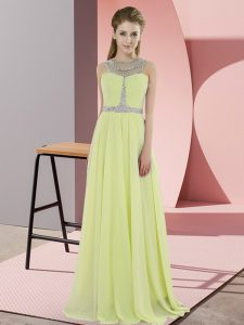 Yellow Chiffon Zipper Sleeveless Floor Length Beading