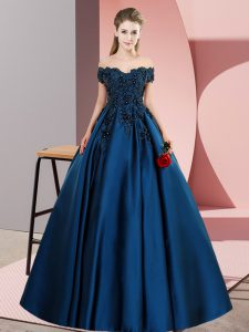 Cute A-line Sweet 16 Dresses Navy Blue Off The Shoulder Satin Sleeveless Floor Length Zipper