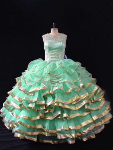 Fantastic Apple Green Sweetheart Neckline Ruffles 15th Birthday Dress Sleeveless Lace Up
