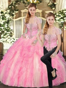 Traditional Strapless Sleeveless 15th Birthday Dress Floor Length Beading and Ruffles Baby Pink Tulle