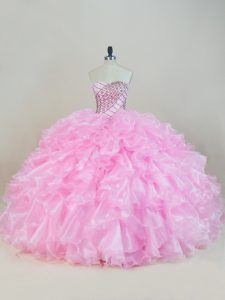 Modern Sweetheart Sleeveless Organza Quince Ball Gowns Beading and Ruffles Lace Up