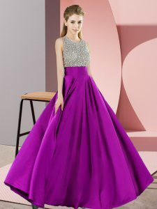 Lovely Purple Sleeveless Elastic Woven Satin Backless Prom Evening Gown for Prom and Party