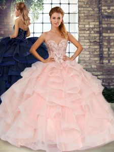 Free and Easy Baby Pink Quinceanera Gowns Military Ball and Sweet 16 and Quinceanera with Beading and Ruffles Sweetheart Sleeveless Lace Up
