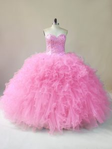Clearance Floor Length Baby Pink 15th Birthday Dress Tulle Sleeveless Beading and Ruffles