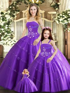 Latest Floor Length Lace Up 15 Quinceanera Dress Purple for Sweet 16 and Quinceanera with Beading