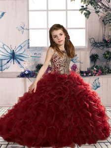 Wine Red Sleeveless Floor Length Beading and Ruffles Lace Up Girls Pageant Dresses