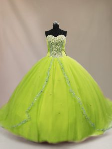 Sleeveless Court Train Beading Lace Up Quinceanera Dresses