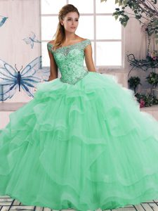 New Style Apple Green Sleeveless Tulle Lace Up Sweet 16 Quinceanera Dress for Military Ball and Sweet 16 and Quinceanera
