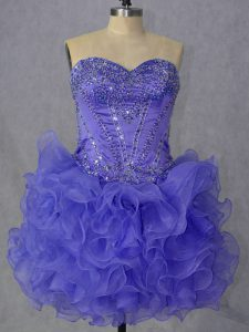 Decent Sleeveless Mini Length Beading and Ruffles Lace Up Prom Gown with Lavender