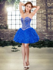 Flirting Blue Ball Gowns Beading and Ruffles Cocktail Dresses Lace Up Tulle Sleeveless Mini Length