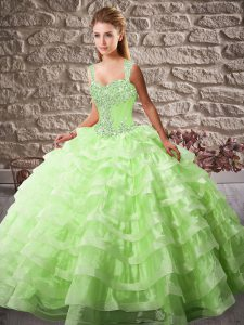 Beautiful Lace Up 15 Quinceanera Dress for Sweet 16 and Quinceanera with Beading and Ruffled Layers Court Train