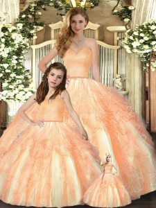 Orange Ball Gowns Beading and Ruffles Quinceanera Dresses Lace Up Organza Sleeveless Floor Length