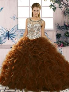 Sophisticated Brown Vestidos de Quinceanera Military Ball and Sweet 16 and Quinceanera with Beading and Ruffles Scoop Sleeveless Lace Up
