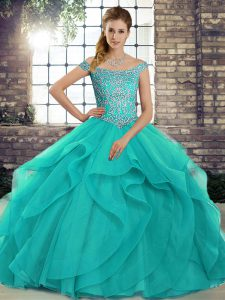 Off The Shoulder Sleeveless Brush Train Lace Up Sweet 16 Quinceanera Dress Aqua Blue Tulle