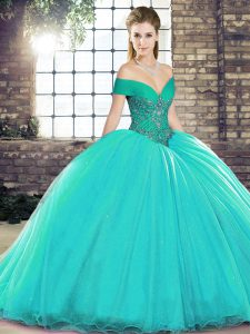 Glamorous Turquoise Sleeveless Organza Brush Train Lace Up Sweet 16 Dresses for Military Ball and Sweet 16 and Quinceanera