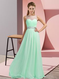 Top Selling Apple Green Sleeveless Beading Floor Length Prom Dresses